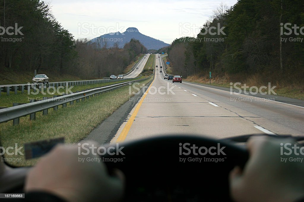 Driver's Perspective Pilot Mountain royalty-free stock photo