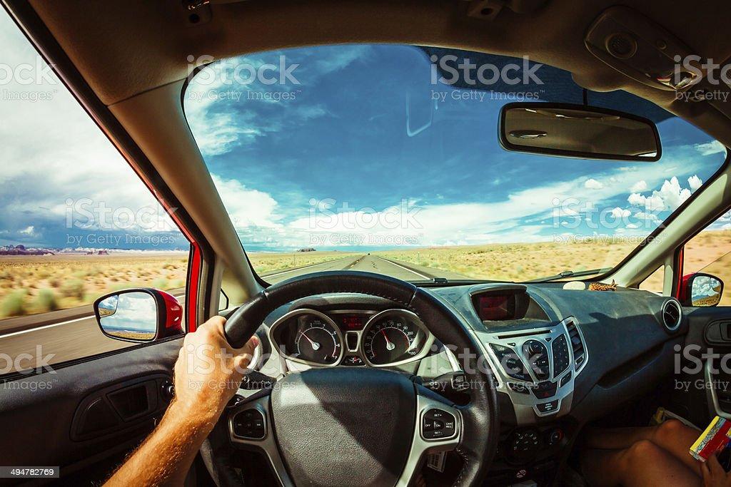 Driver's Point of View, Roadtrip stock photo
