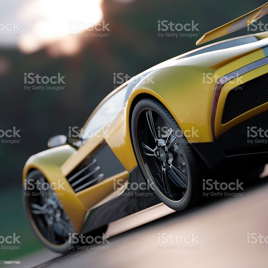 Driver's side view of a sleek yellow sports car royalty-free stock photo