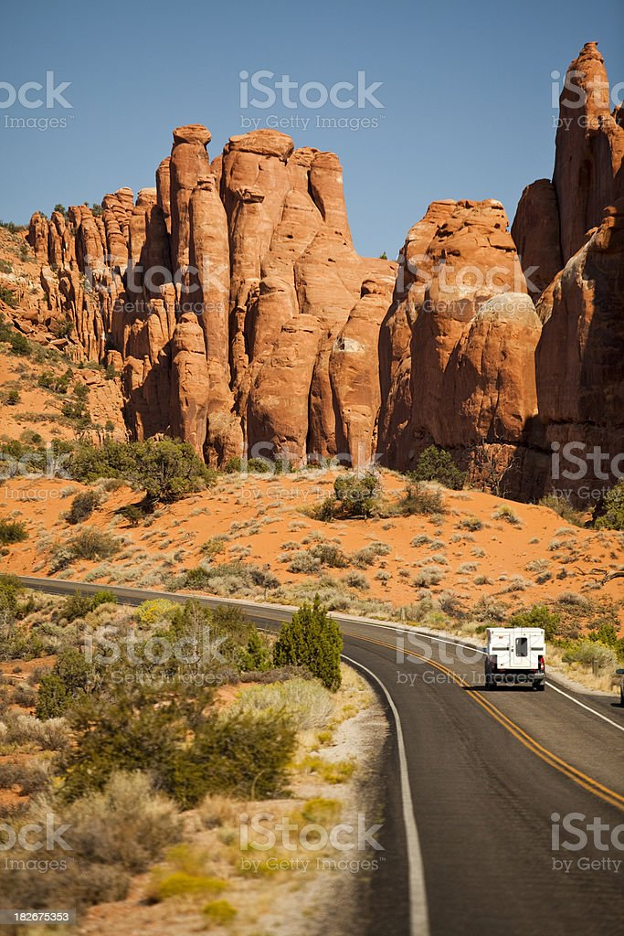 RV drives in the canyon stock photo