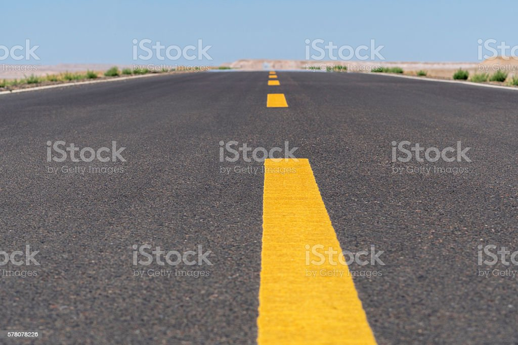 driveway in gobi desert stock photo