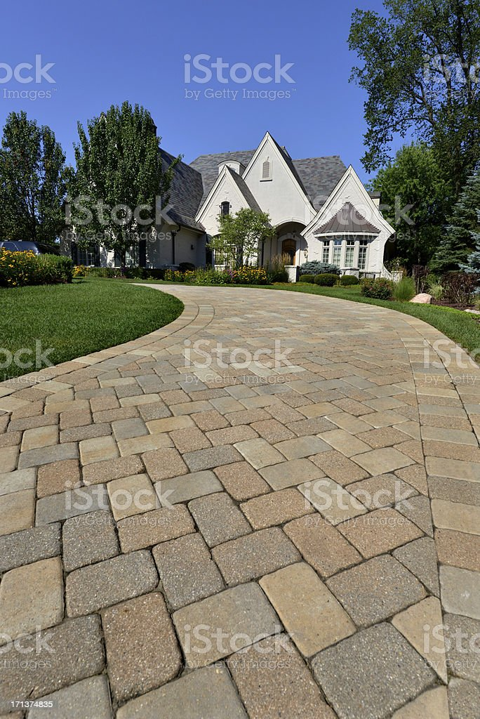 Driveway view of very large house stock photo