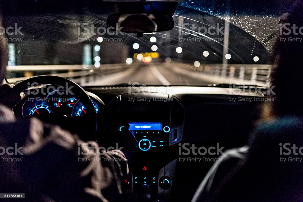 Driving A Car In Night stock photo