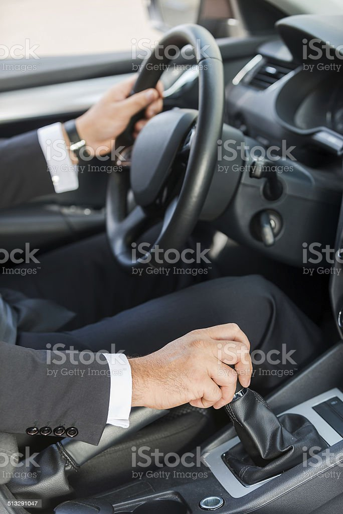 Driving a new car. stock photo