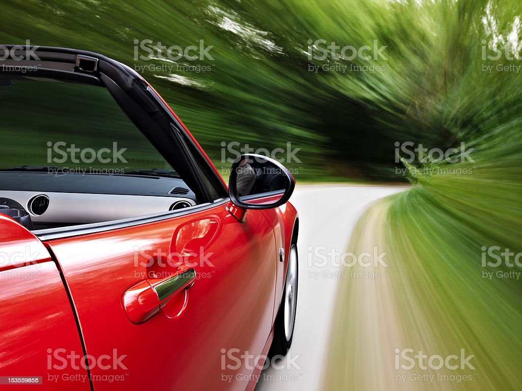 Driving a sports cabriolet stock photo