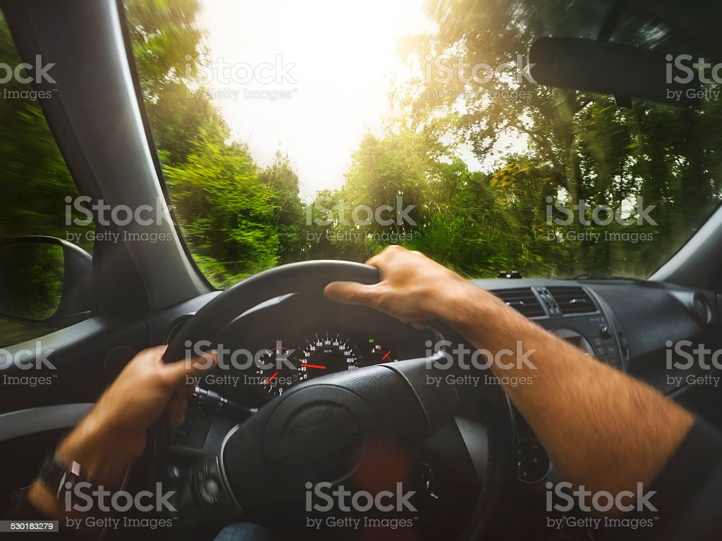 POW: driving a SUV offroad car in the forest stock photo