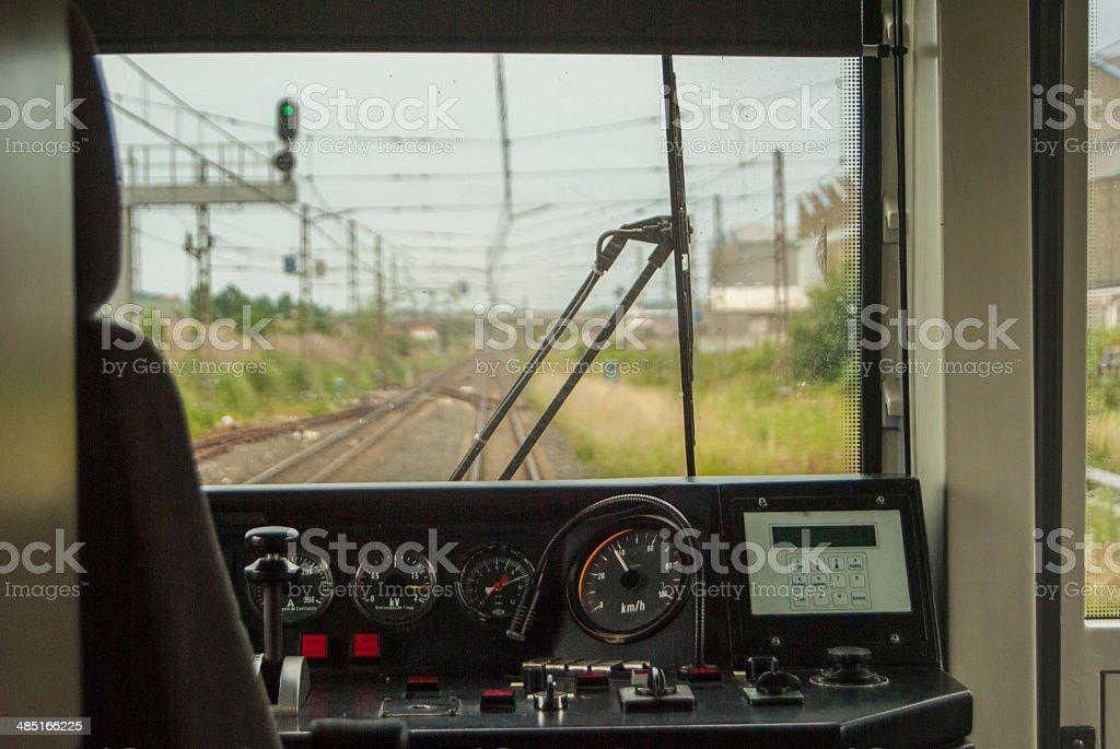 Driving a train stock photo