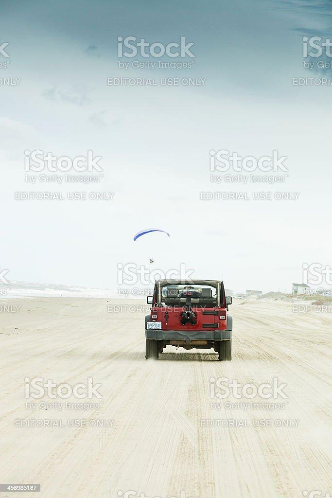 Driving Across Carova Beach in North Carolina stock photo