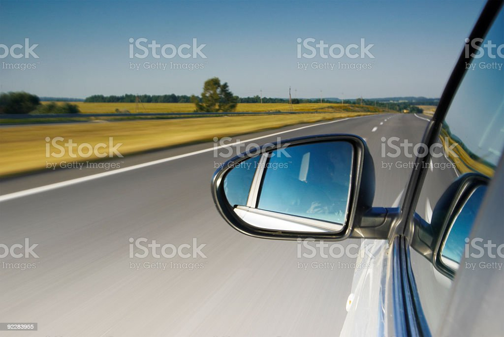 Driving along a road royalty-free stock photo