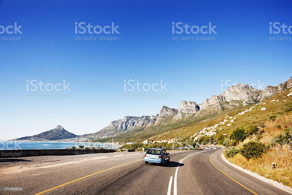Driving along coast road past Twelve Apostles towards Cape Town stock photo