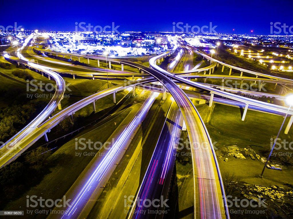 Driving at Midnight Capital Cities Mopac Interchange at Night stock photo