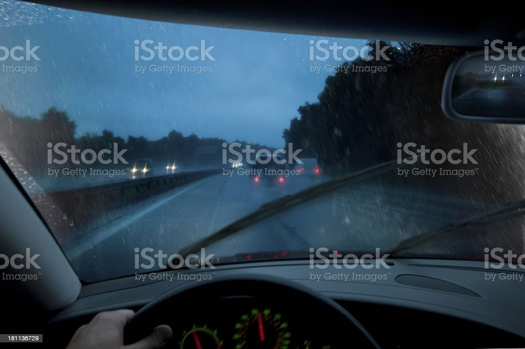 Driving at night in rain storm. royalty-free stock photo