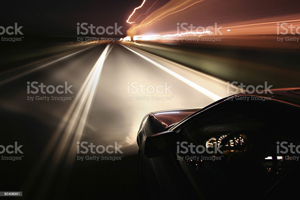 Driving at night royalty-free stock photo