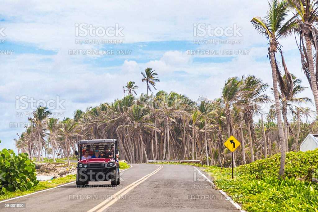 Driving at San Andres island stock photo