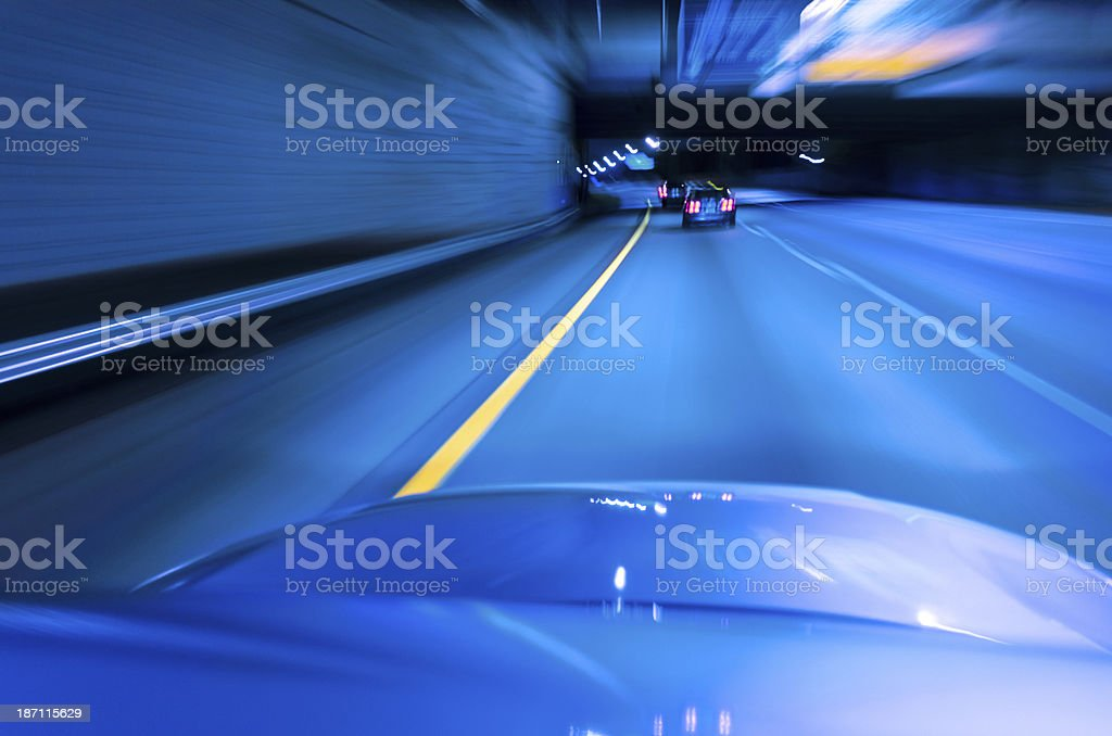 Driving POV Blue Hour Twilight royalty-free stock photo