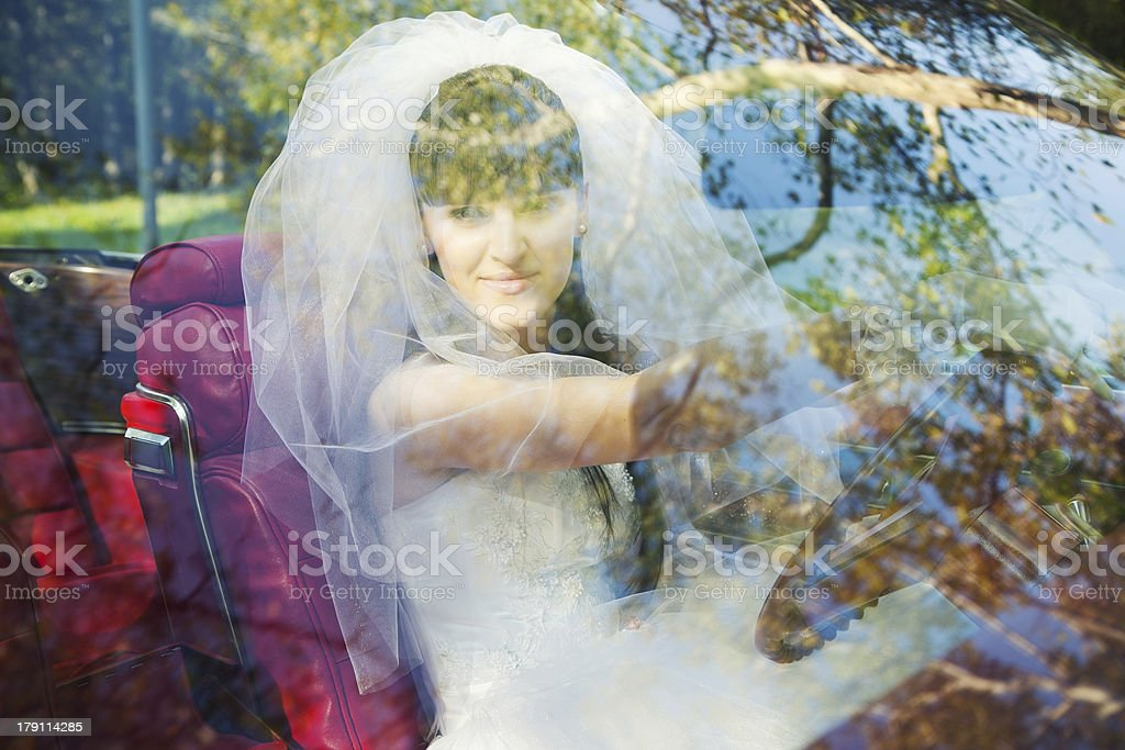 driving bride royalty-free stock photo