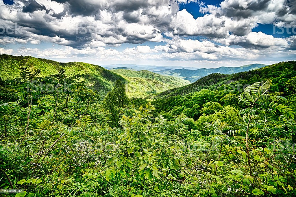 driving by overlooks along blue ridge parkway stock photo