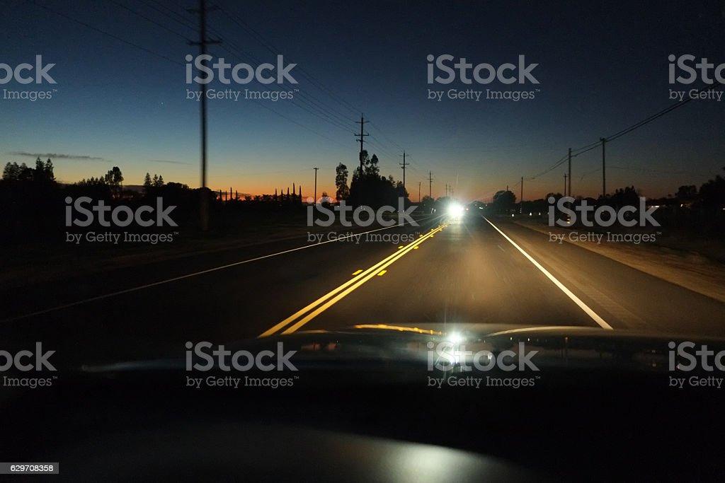 Driving Car at Night in California stock photo