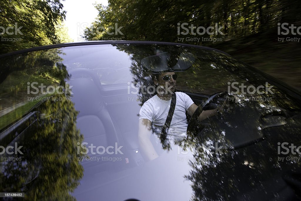 Driving Car (from outside) stock photo