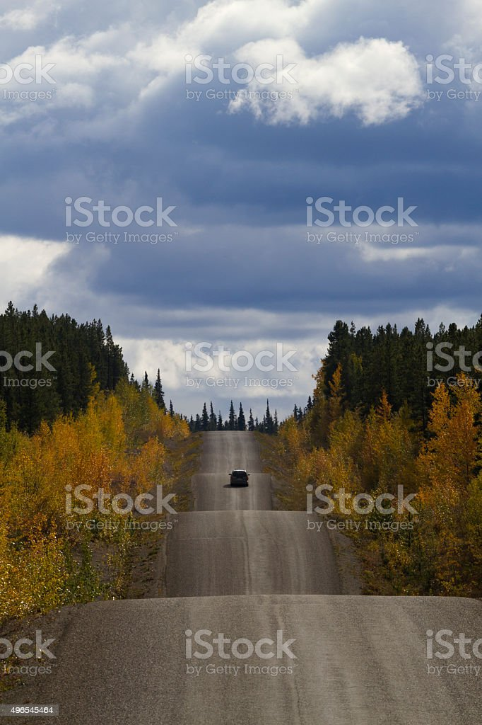 Driving Cassiar-Stewart Highway in British Columbia stock photo