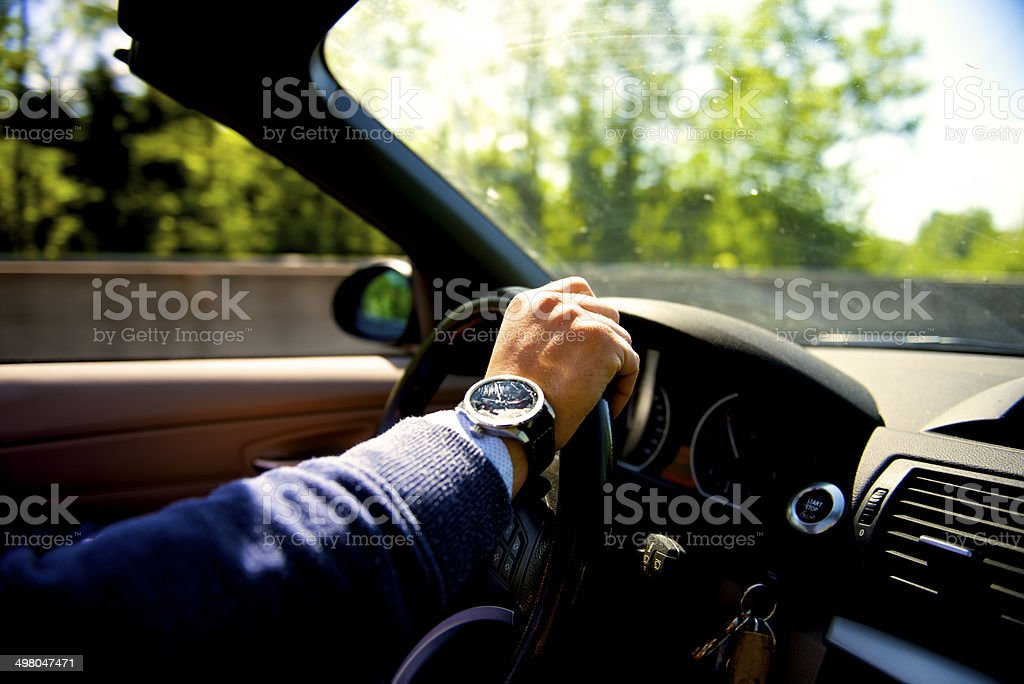 driving convertible car stock photo