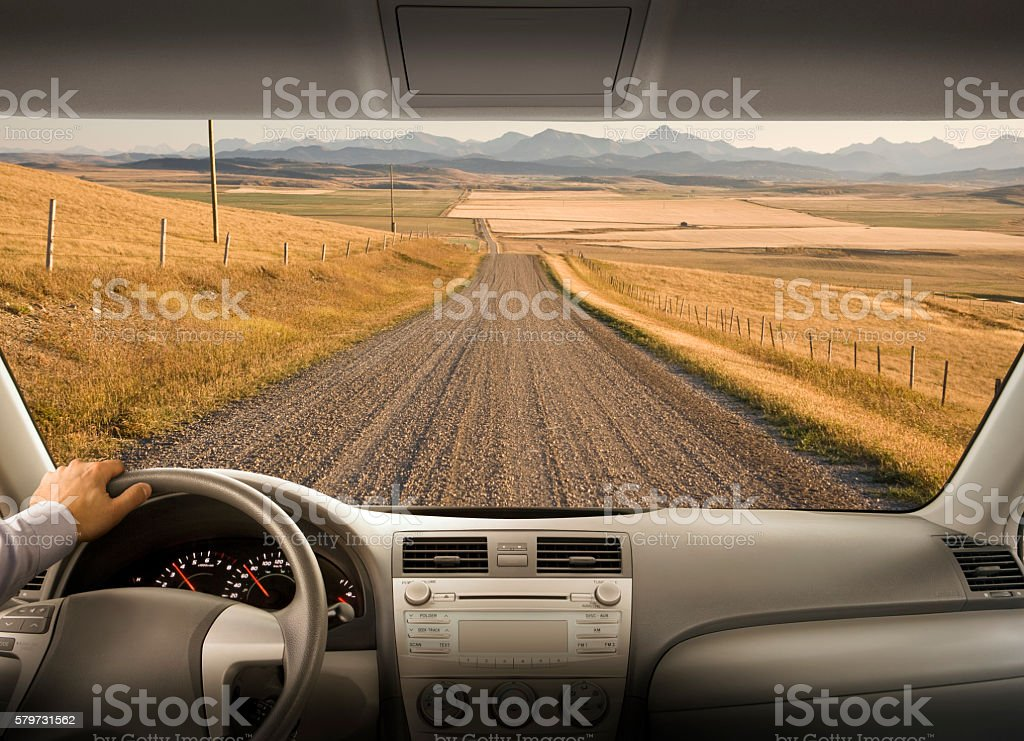 Driving down a country road stock photo