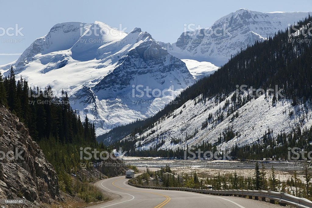 RV driving down Columbia Icefield Parkway, Canada stock photo