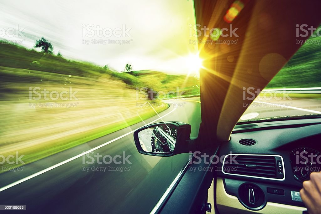 Driving Down the Road stock photo