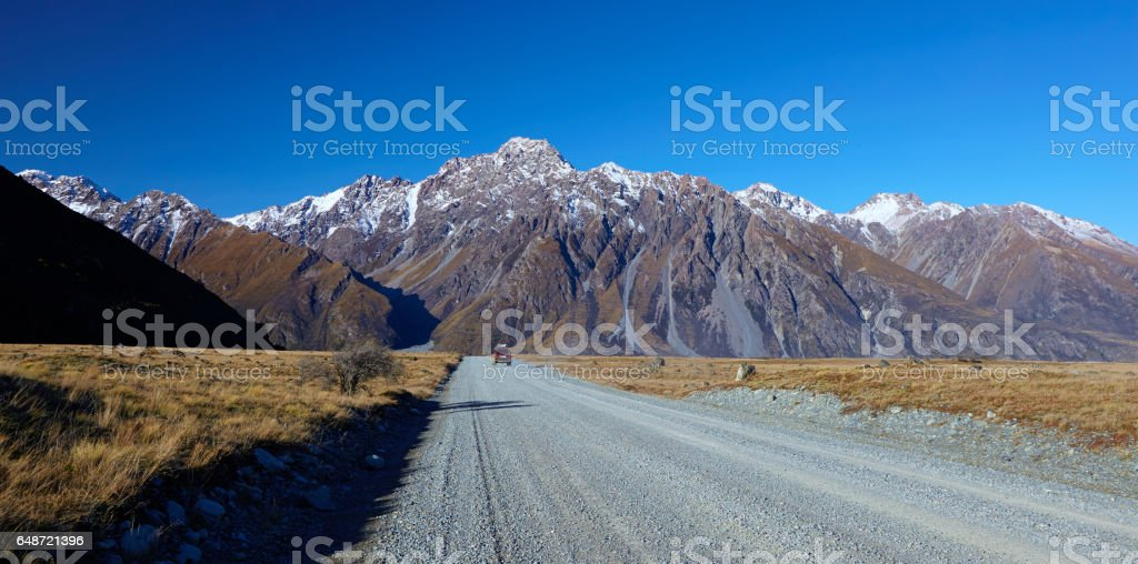 Driving Down The Tasman Valley Road, New Zealand stock photo