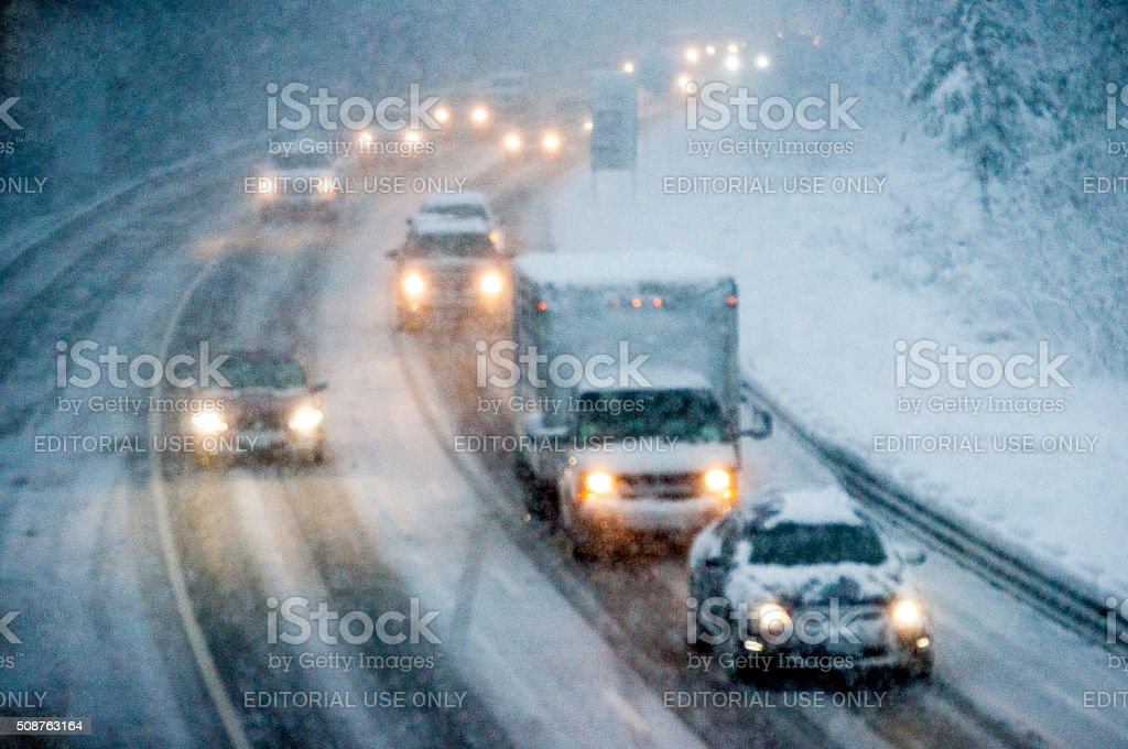 Driving During a Snowstorm stock photo