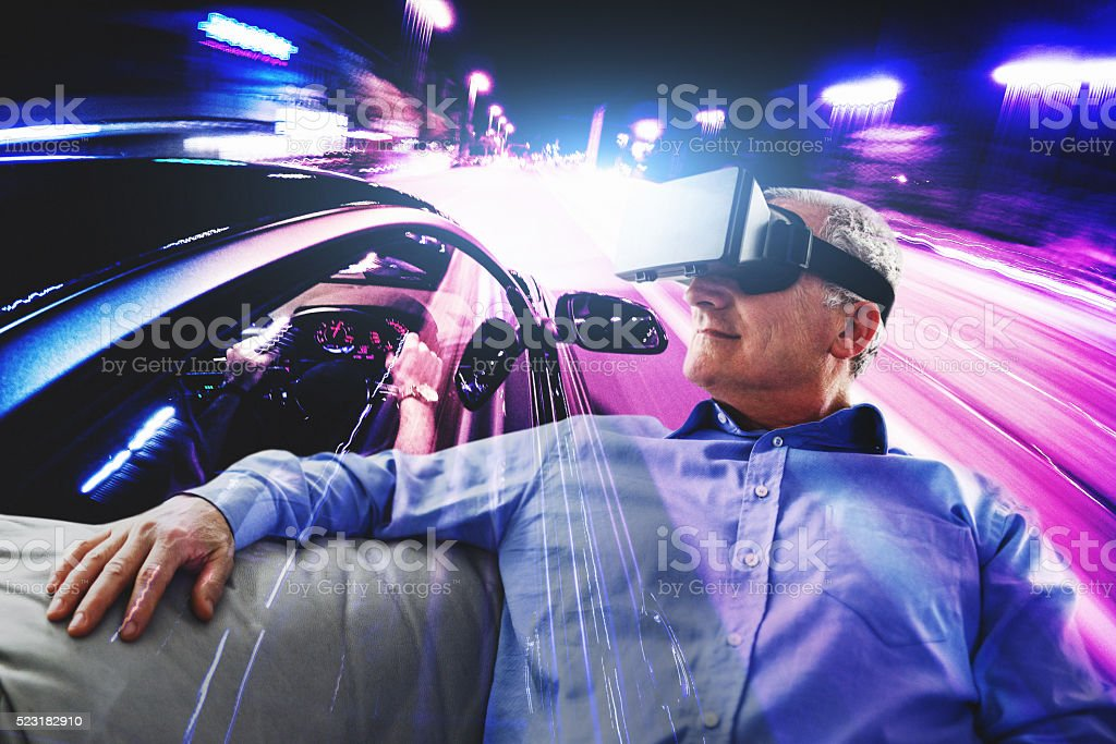 driving experience with the Virtual reality simulator stock photo