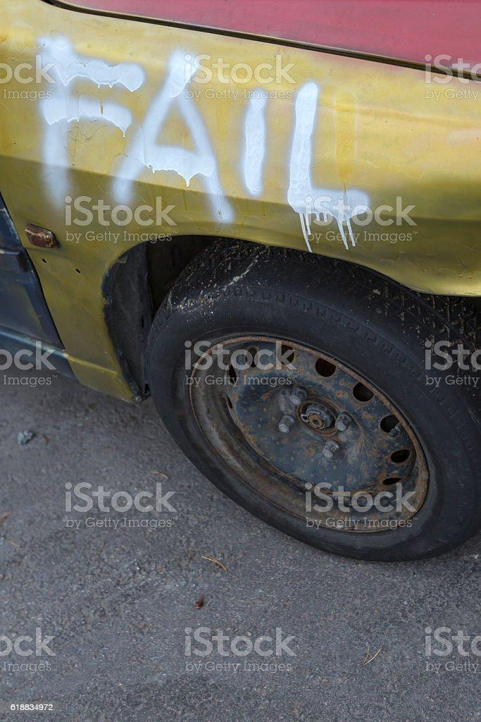 driving failure stock photo