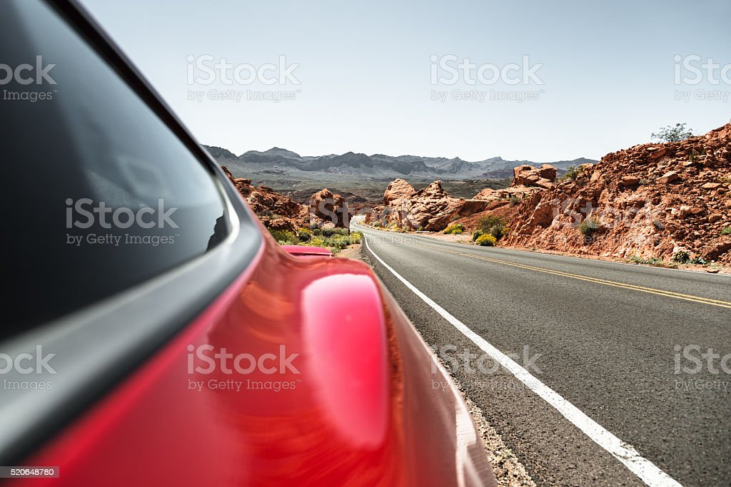 Driving fast on the road stock photo