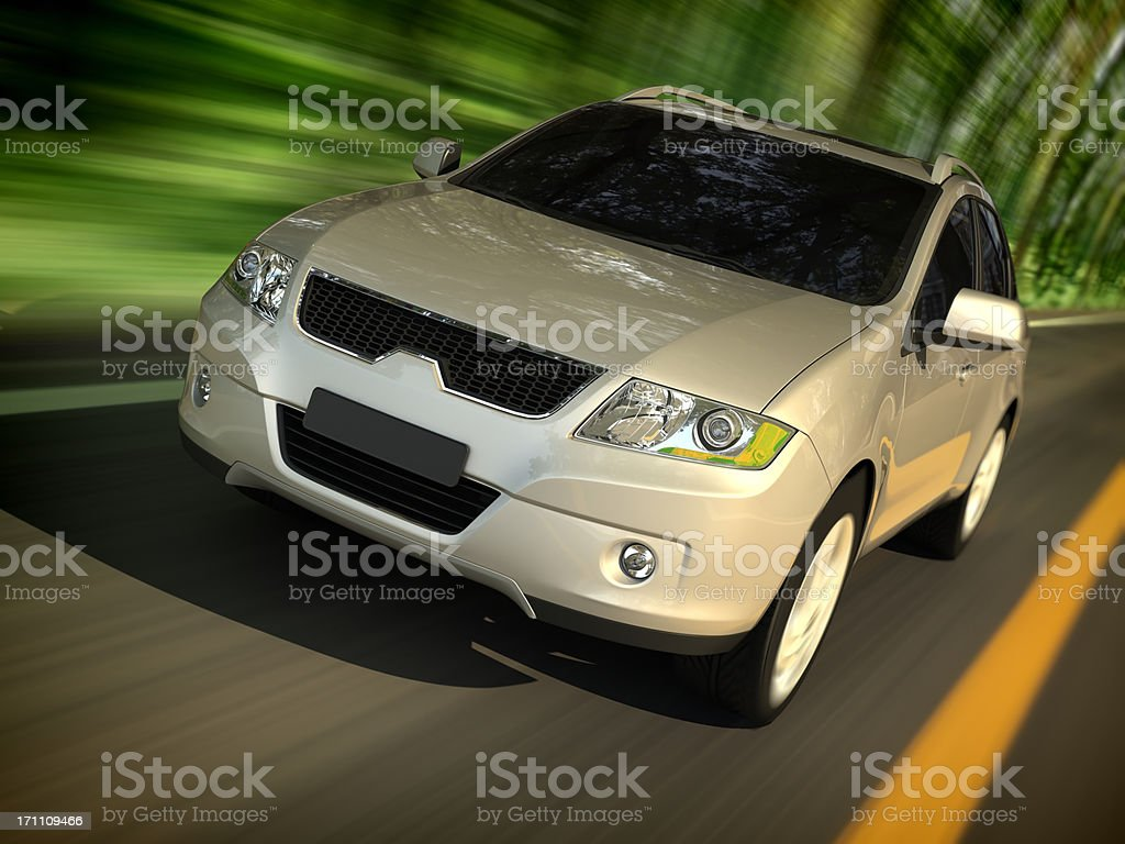 SUV driving forest road stock photo