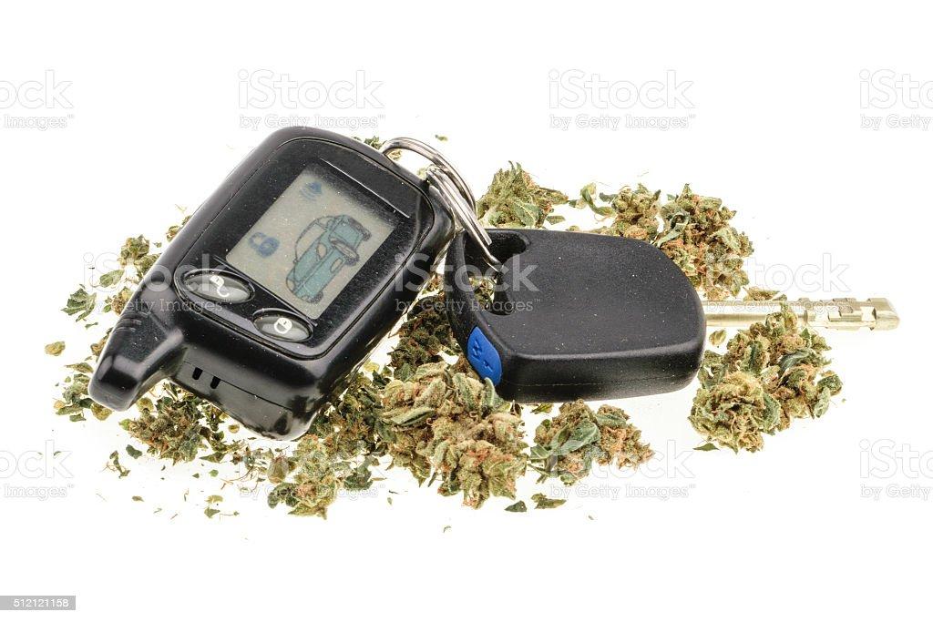Driving high, marijuana and car key isolated on white stock photo
