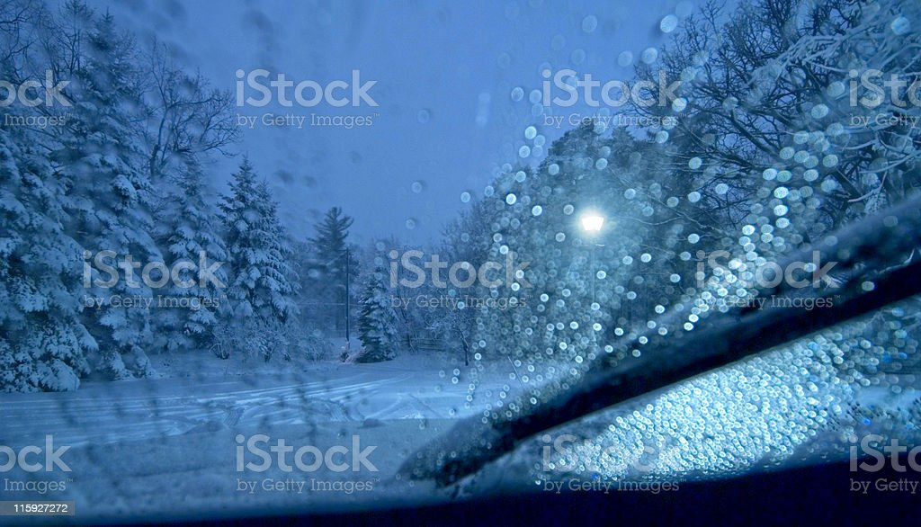 Driving in a Snowstorm stock photo