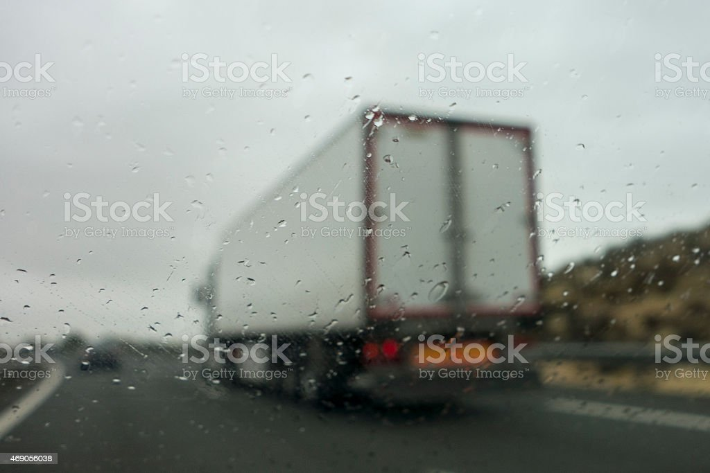Driving in adverse weather conditions stock photo