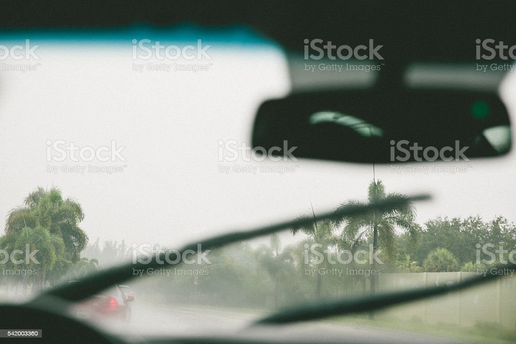 Driving in bad weather stock photo