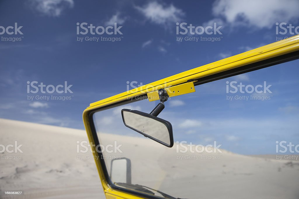 Driving in Desert, Jericoacoara, Brazil stock photo