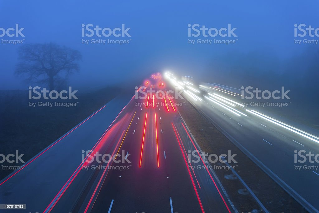 Driving In Fog stock photo