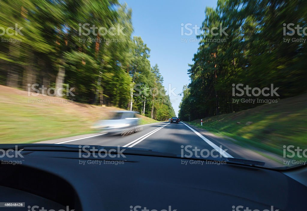 Driving in good weather conditions stock photo