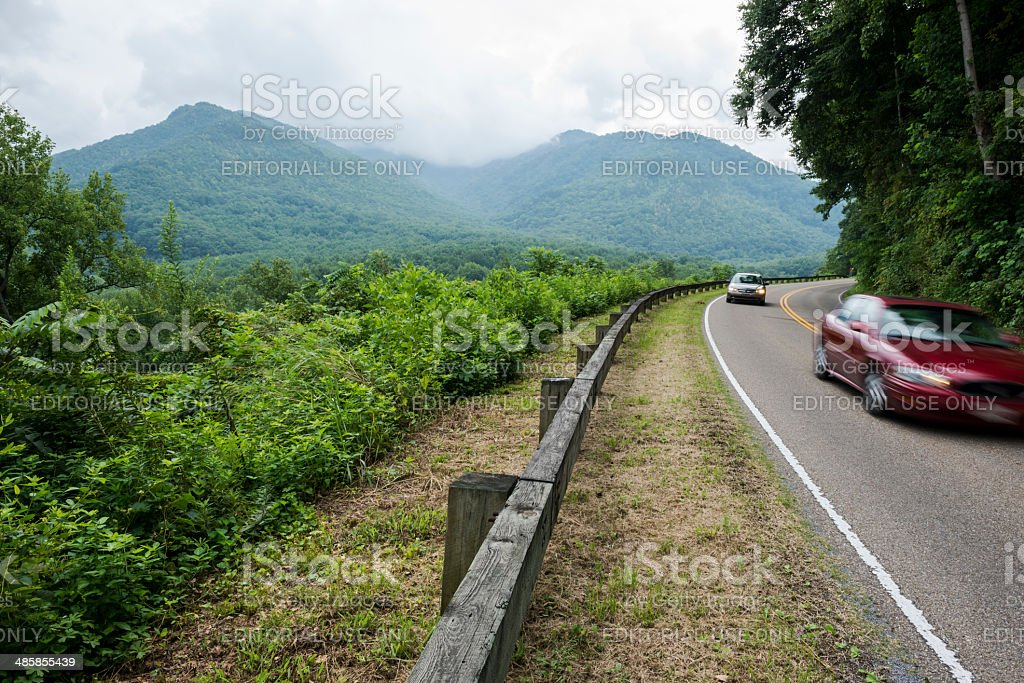 Driving in Great Smoky Mountains National Park royalty-free stock photo