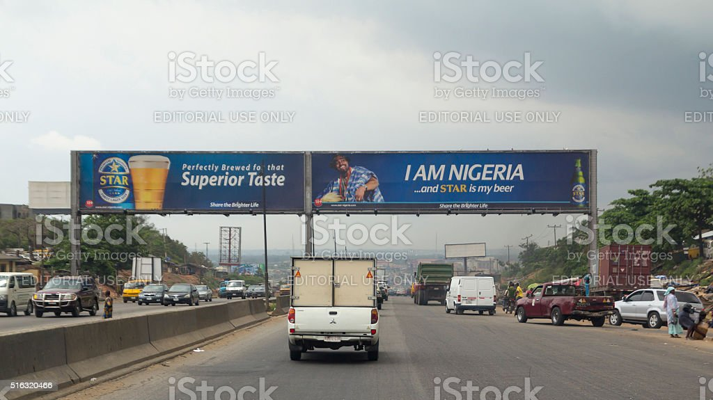 Driving in Nigeria, Africa stock photo