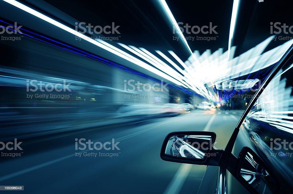 Driving in night royalty-free stock photo
