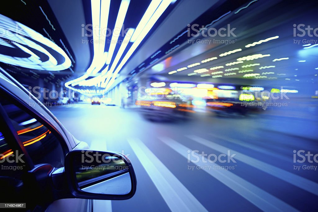 Driving in night stock photo