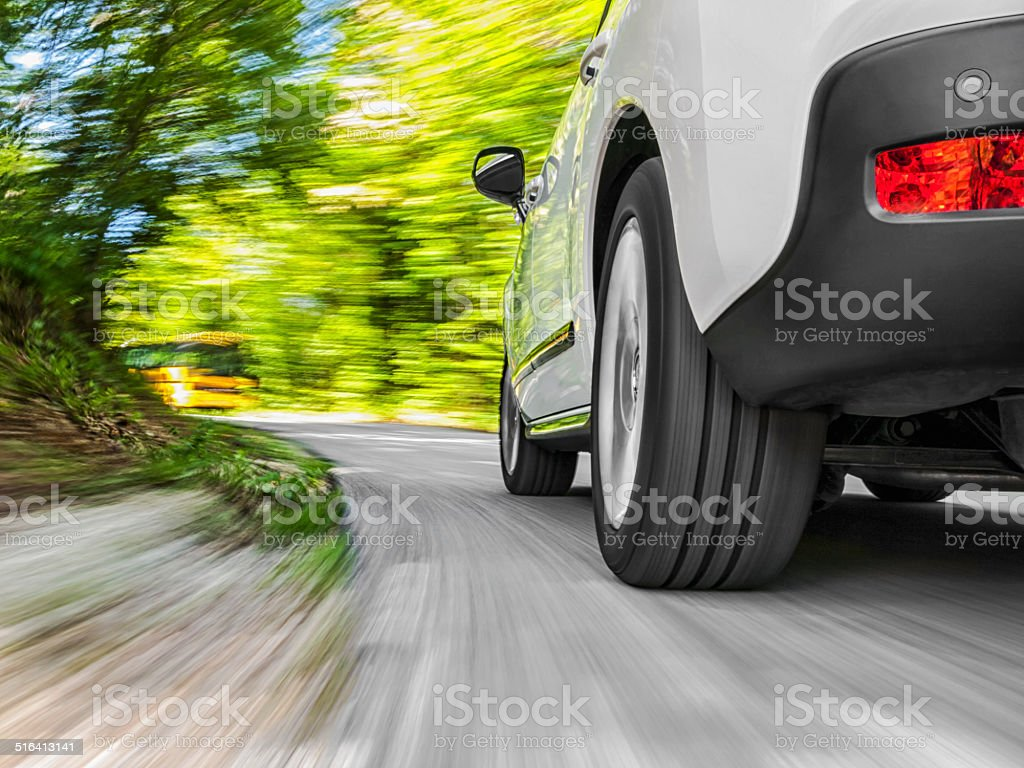 Driving in the curve stock photo