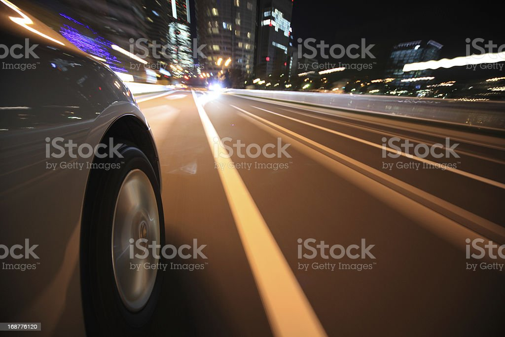 Driving in the night city royalty-free stock photo