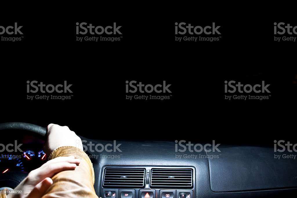 Driving in the night stock photo