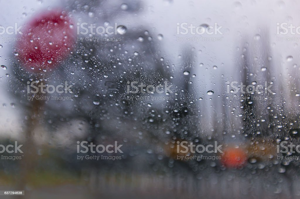 Driving in the rain in winter stock photo