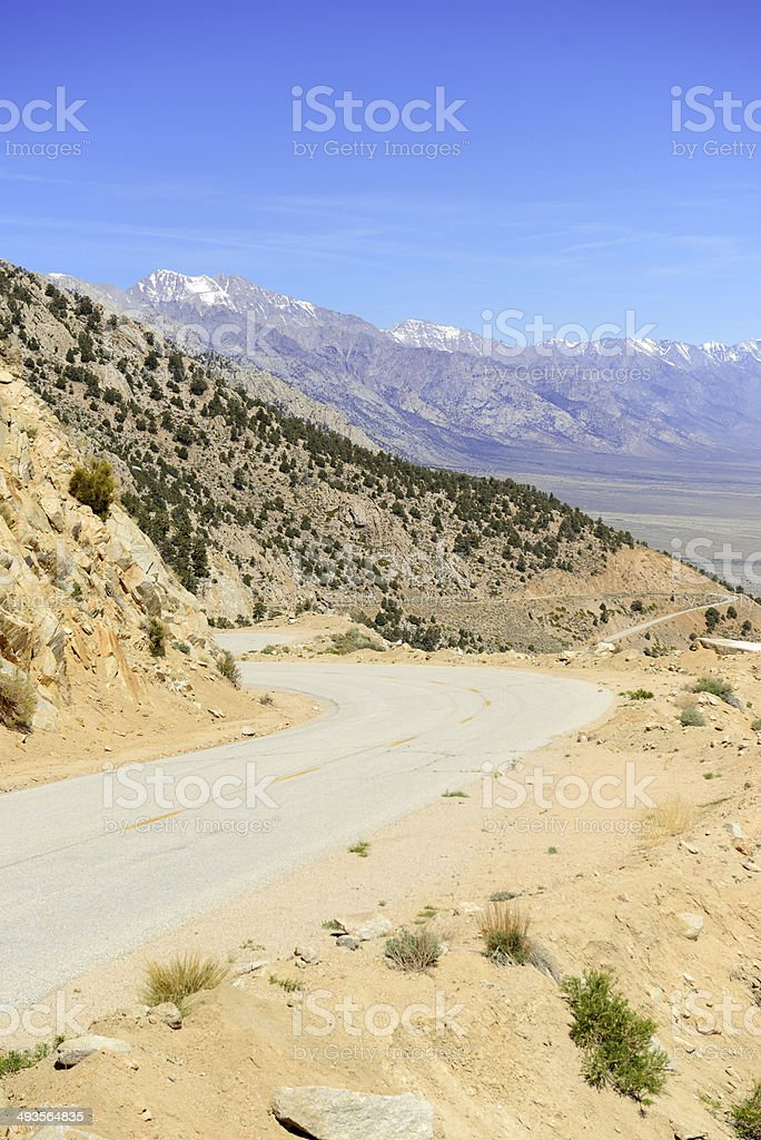 Driving in the Sierra Nevada Mountains, California, USA stock photo
